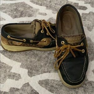 Leopard leather sperry topsiders